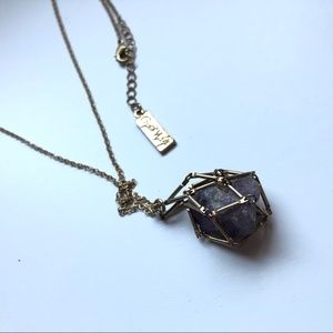 caged amethyst necklace gold chain